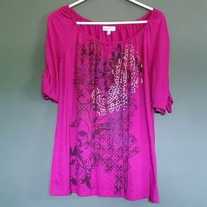 Plus Size Shirt with Drawstring Sleeves